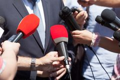 Public relations - PR. Media interview. Press interview. Broadcast journalism. News conference Stock Photography