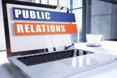 Public Relations. Text on modern laptop screen in office environment. 3D render illustration business text concept Stock Photo