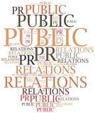 Public relations Word wolkenillustratie Stock Afbeeldingen