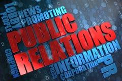 Public relations. Wordcloudconcept. Stock Foto's