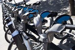 Public Rental Bicycles in a Line, London, UK Stock Photography