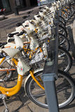Public rental bicycles in Milano, Italy Royalty Free Stock Image
