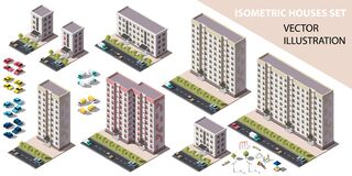 Public residential buildings isometry set. Isometric view of the house and cars. Cityscape design elements with isometric 3D