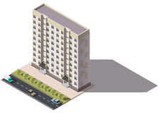 Public residential nine-storey building isometry. Isometric view of the house and cars. 3D object for video games or real estate advertising. For Your business Royalty Free Stock Photos