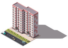 Public residential nine-storey building isometry. Isometric view of the house and cars. 3D object for video games or real estate advertising. For Your business Stock Photography