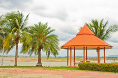 Public rest-house. Oriental mediation stand on the middle of an public garden lake royalty free stock photography