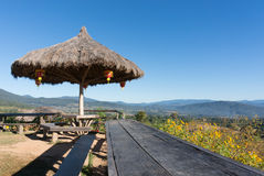 The public rest-house at Yun Lai Viewpoint  located in Mae Hong Sorn, Thailand.  Stock Photo