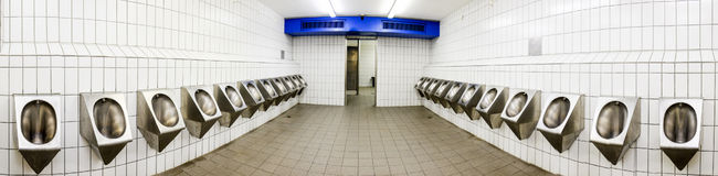 Public restroom. Modern public restroom - panorama - photo Royalty Free Stock Images