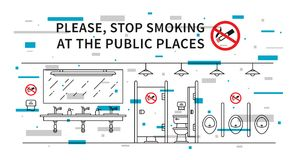 Public restroom no smoking vector illustration with elements. Public restroom no smoking vector illustration with colorful elements. Stop smoking sign at the Stock Photography