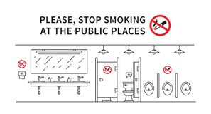Public restroom no smoking vector illustration. Stop smoking sign at the public place line art concept Royalty Free Stock Image