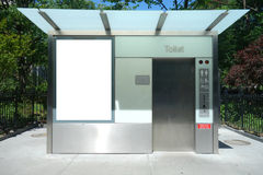 Public Restroom. A paid public restroom in New York City stock photos