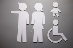 Public restroom signs. White signs on gray wall Royalty Free Stock Photos