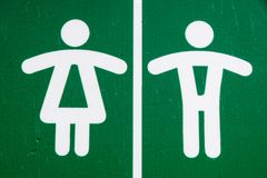 Public restroom toilet WC sign man and woman in green royalty free stock image