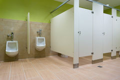 Public restroom with urinals. In hotel Royalty Free Stock Images