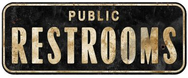 Public Restrooms Sign Vintage Grunge Old. Metal tin rustic retro toilet men`s women`s facility weathered royalty free illustration