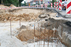 Public road construction site Stock Image