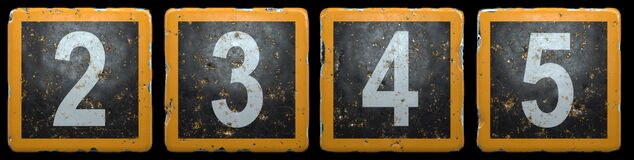 Free Public Road Sign Orange And Black Color With A Set Of Numbers 2, 3, 4, 5 In The Center Isolated On Black Background. 3d Royalty Free Stock Photography - 193981437
