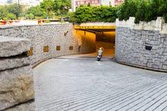 Public road to underground tunnel in Macau Stock Image