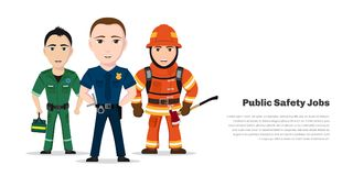 Public safety jobs. Firefighter, paramedic and police officer. Emergency service specialists, public safety worker characters isolated on white background Stock Photos