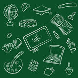 Public school and graduation icon Stock Photography
