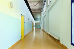 Public school, long corridor Royalty Free Stock Photography