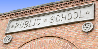 Public School Sign on Brick Building