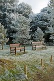 Public seats in rural England at Winter Stock Photography