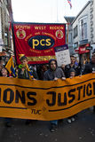 public sector workers march through Exeter City Royalty Free Stock Photo