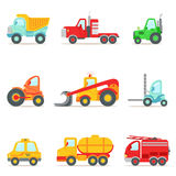 Public Service, Construction And Road Working Cars Collection Of Colorful Toy Cartoon Icons. Vector Illustrations In Bright Color With Vehicles Used For Royalty Free Stock Photo