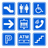 Public service sign icon set on blue background. Public service sign icons on blue background Royalty Free Stock Images