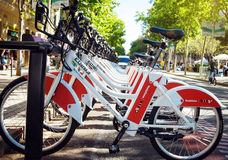 Public Service Vehicles bicycles. Vodafone Bicing in Barcelona Royalty Free Stock Photos