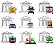 Public services icons Stock Images