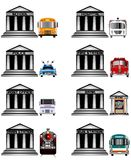 Public services icons. Government and public services Icons illustration Royalty Free Stock Photo
