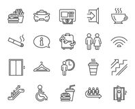 Public Services line icons. Elevator, Cloakroom. Public Services line icons. Set of Elevator, Cloakroom and Taxi signs. Exit, ATM and Escalator symbols. Wifi stock illustration