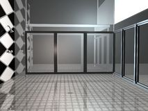 Public Shower. 3D render of a large public Shower area lots of glass mirrors and a tile floor Royalty Free Illustration