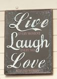 Signage, Live Laugh Love royalty free stock images
