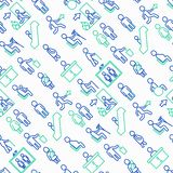 Public signs seamless pattern with thin line icons vector illustration
