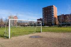 Public soccer field. In Milan working class district Royalty Free Stock Photography
