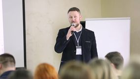 Public Speaker Giving Talk At Business Event stock video footage