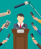 Public speaker and hands of journalists Stock Photo
