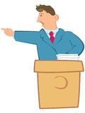 Public speaker on a rostrum Stock Photo