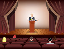 Public speaker speaking to microphones on stage. Vector illustration Royalty Free Stock Photo