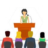 Public speaker from tribune Royalty Free Stock Photos