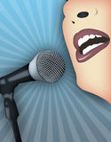 Public Speaking. Woman speaking publicly with microphone royalty free illustration