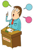 Public speaking. Illustration of a man in public speaking stock illustration