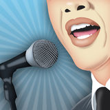 Public Speaking. Man speaking publicly with microphone vector illustration