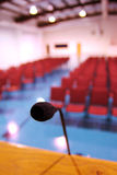 Public speaking. A pulpit microphone in an empty building stock images