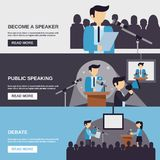 Public Speaking Banner. Set with debate elements isolated vector illustration vector illustration