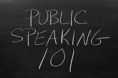 Public Speaking 101 On A Blackboard. The words `Public Speaking 101` on a blackboard in chalk stock images
