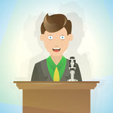 Public Speaking Cartoon Stock Image